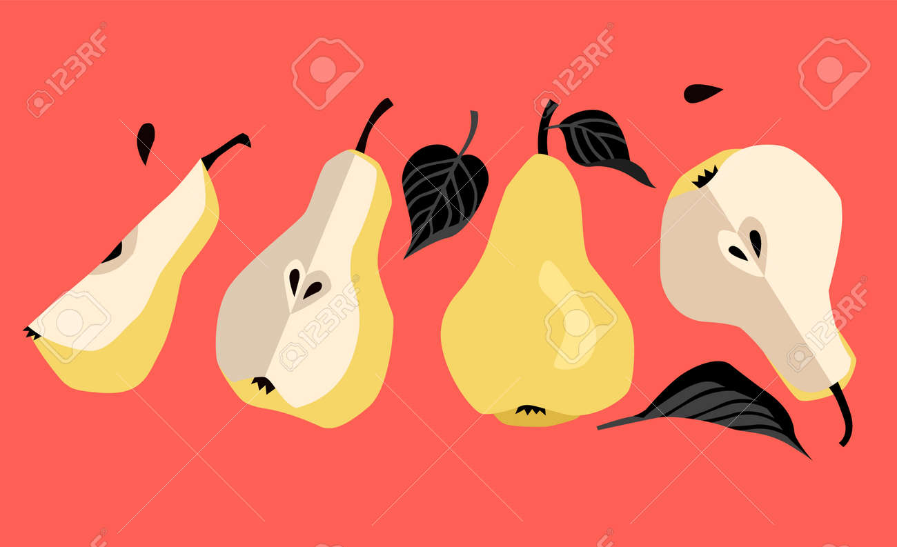 Yellow pears with black leaves, pears in a cartoon style, modern style - 172390397