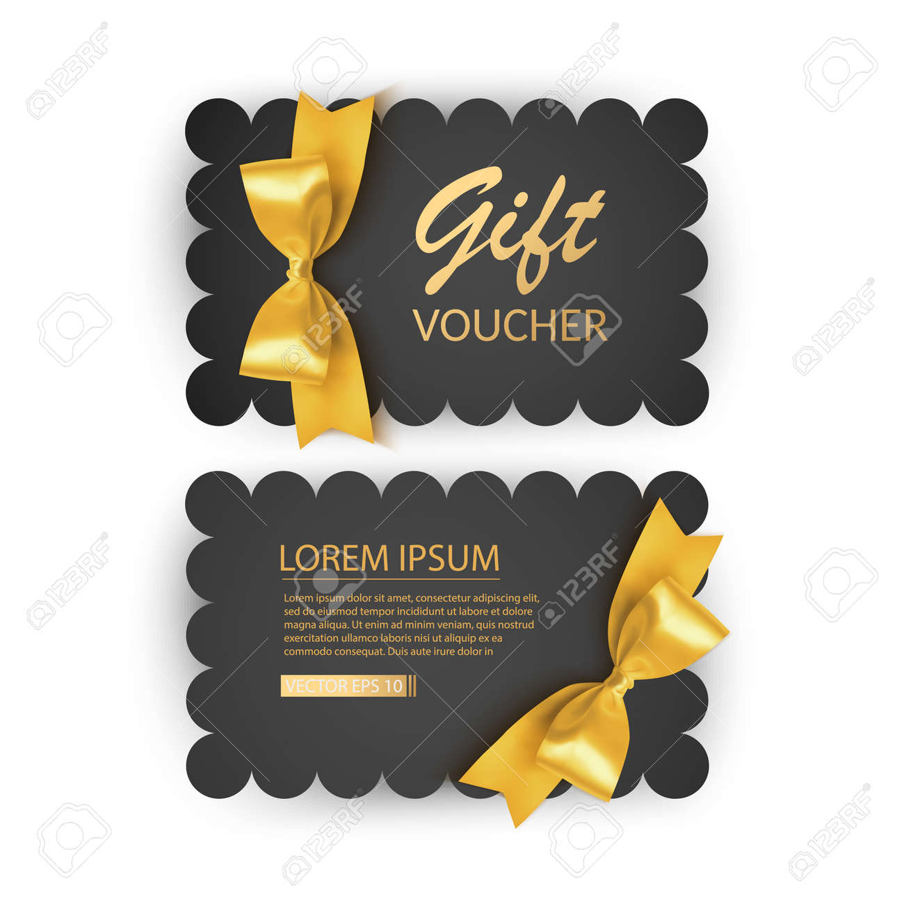 Set of Gift Voucher Card Template, Advertising or Sale. template with realistic golden bow illustration - 173025510