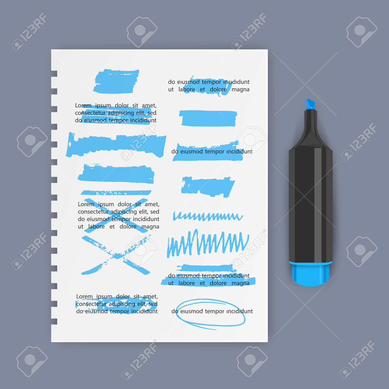 Set of hand drawn highlighter design elements, marks, stripes and strokes. Can be used for text highlighting, marking or coloring in your designs - 172647265