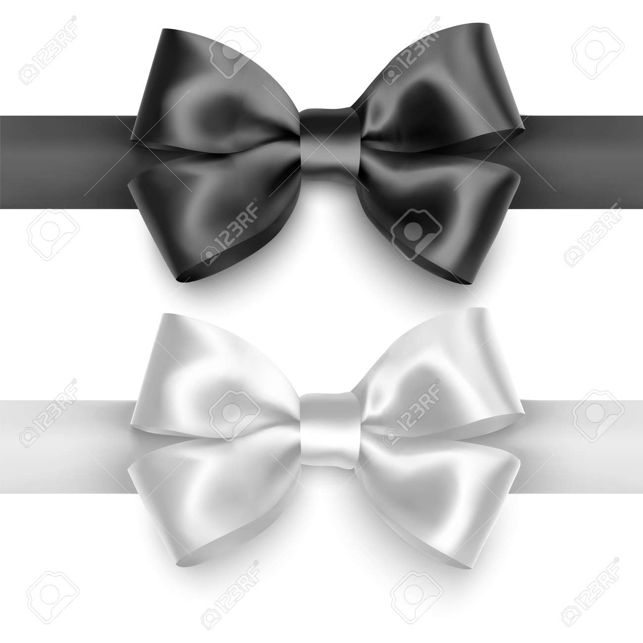 Set of Realistic bows, Ribbon of black and white colors isolated on white background. Vector eps 10 illustration - 172647323