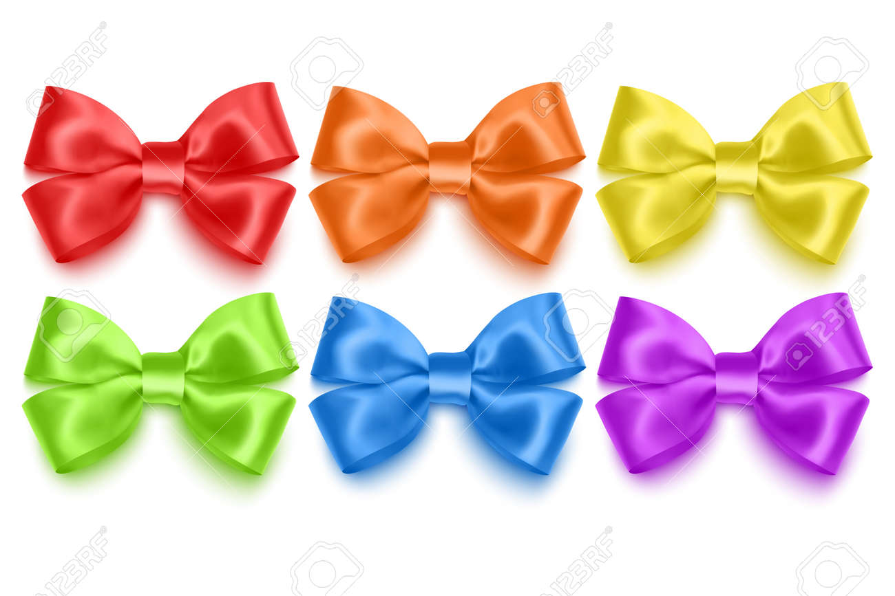 Set of realistic bows of purple, blue, yellow and green colors illustration - 173309063
