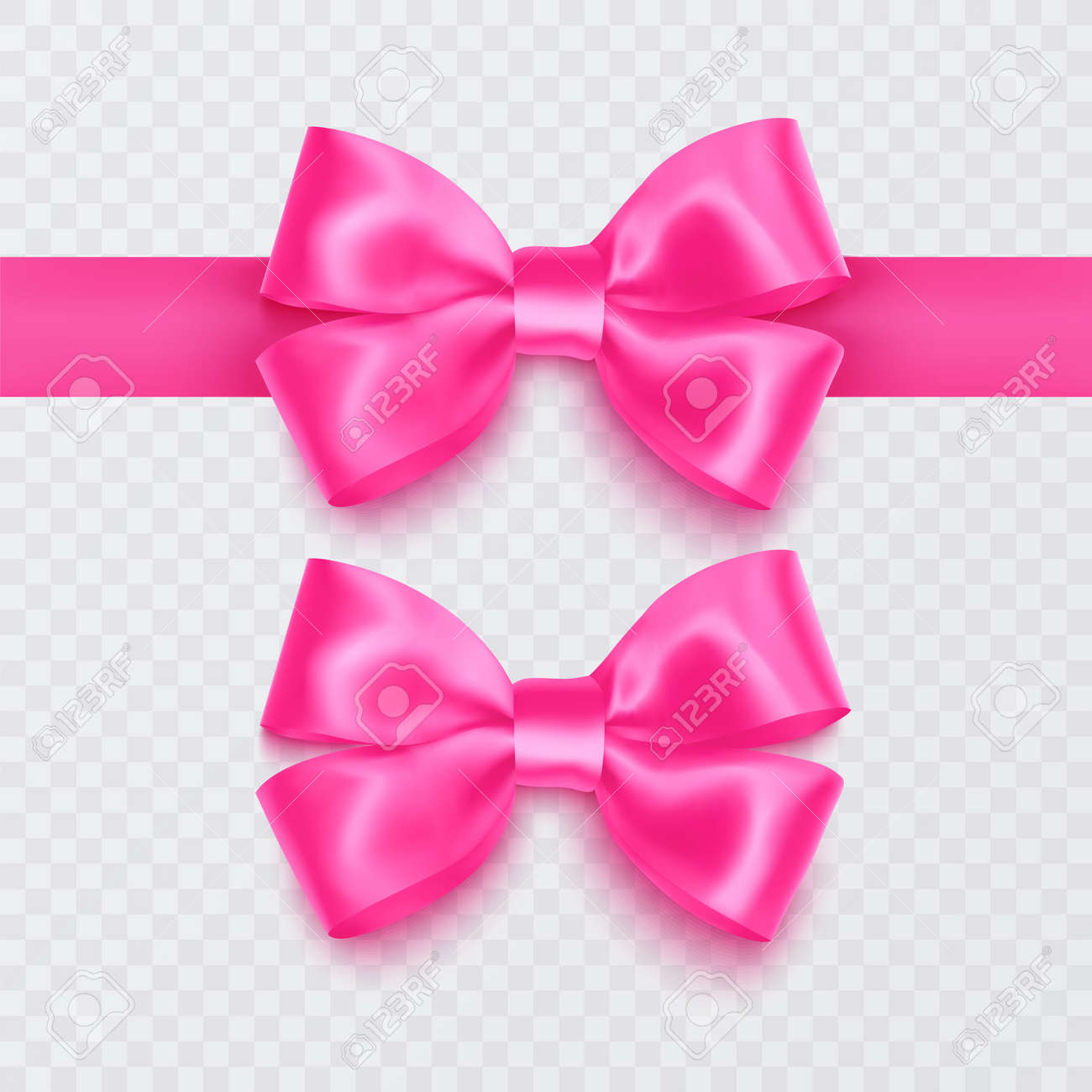 Set of realistic pink bows can be used as a decoration for greeting cards on Valentines Day or on mothers Day, vector illustration - 172863705