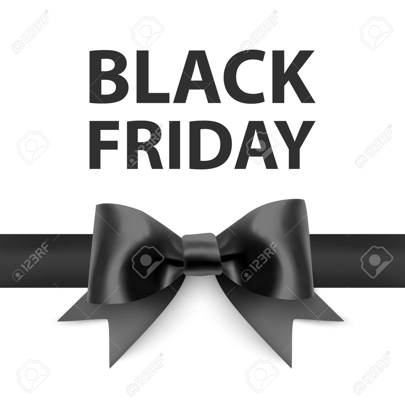 Black friday greeting card with a big black bow, a template for your design, a holiday card, Vector format - 172958465