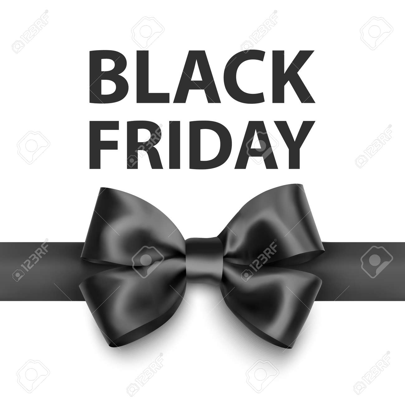 Black friday greeting card with a big black bow, a template for your design, a holiday card, Vector format - 172957349
