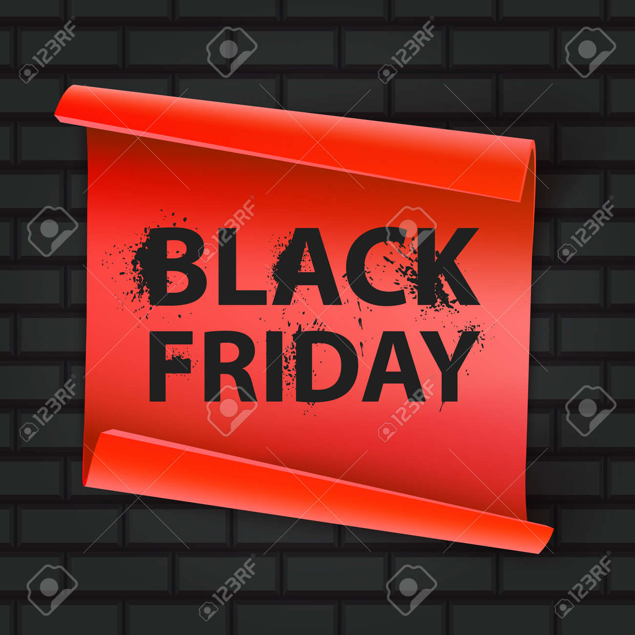 Black Friday inscription on a brick background. Concept of sale, clearance and discount, vector format - 173282673