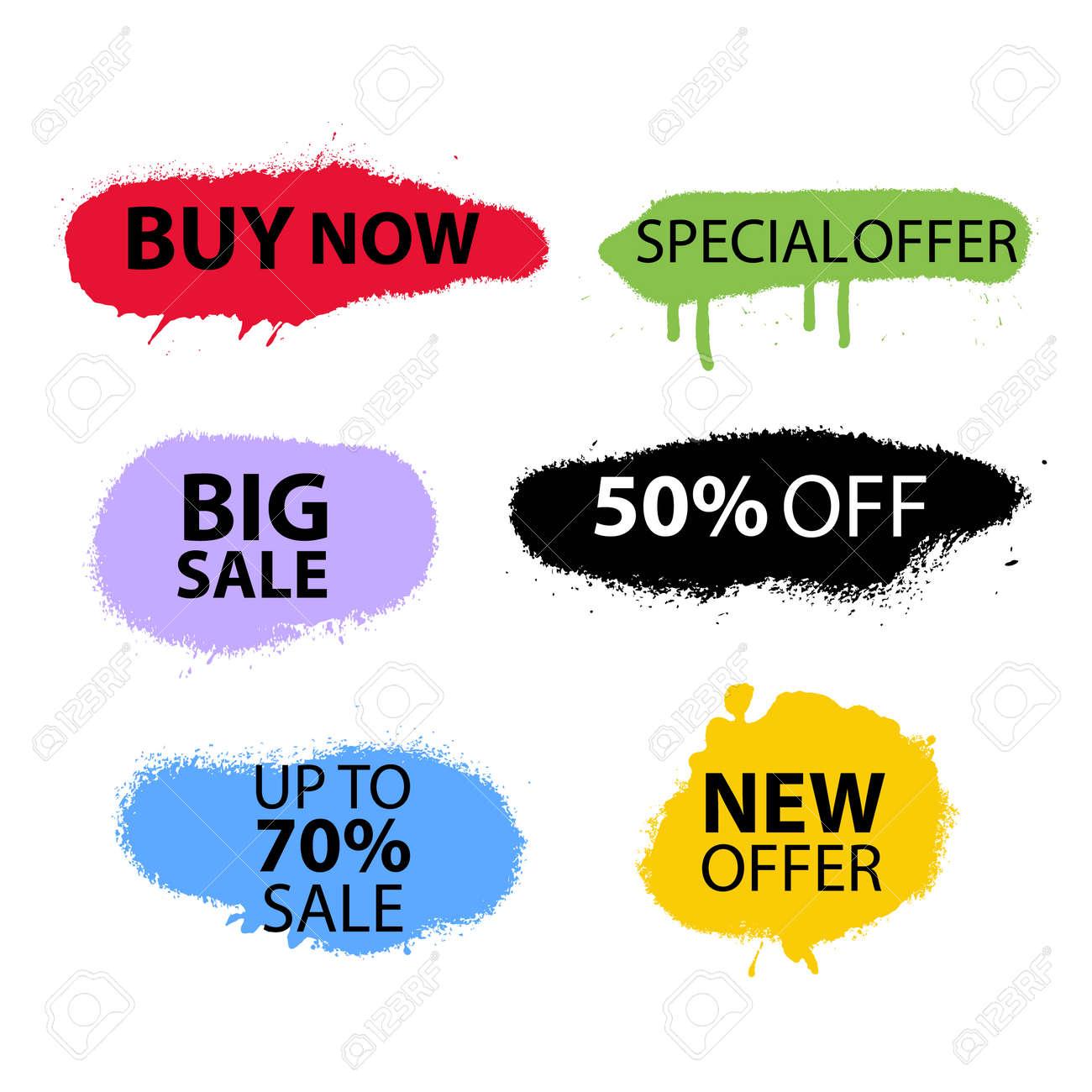 Sale Banner Set Sprayed Sale font Graffiti with overspray Vector format - 173515838