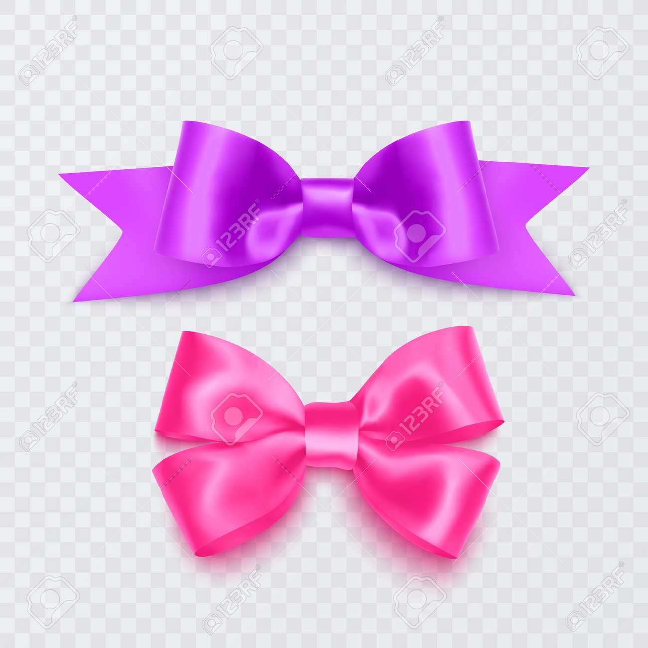 Set of realistic pink bows can be used as a decoration for greeting cards on Valentine's Day or on mother's Day - 173514147