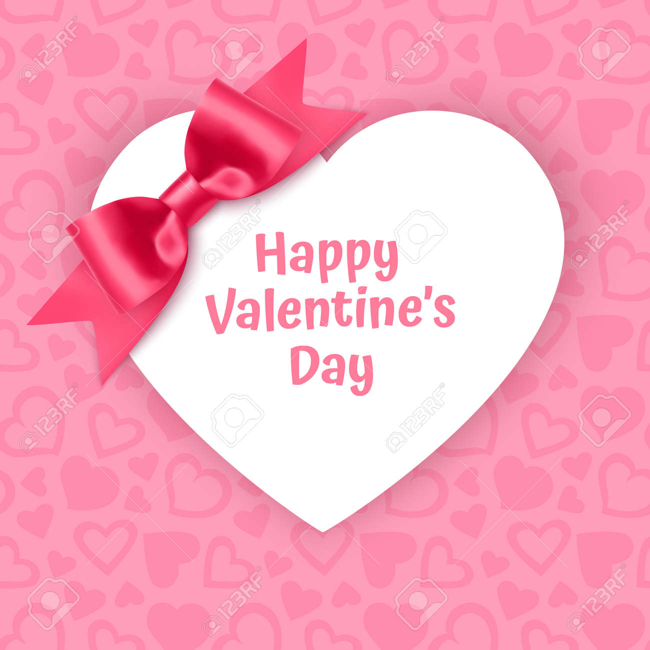 White frame with shape of heart on Festive pink background, pattern with hearts on light pink pastel background. Wedding. Birthday. Mothers Day. Valentine Day. Top view, copy space, Vector format - 173514459
