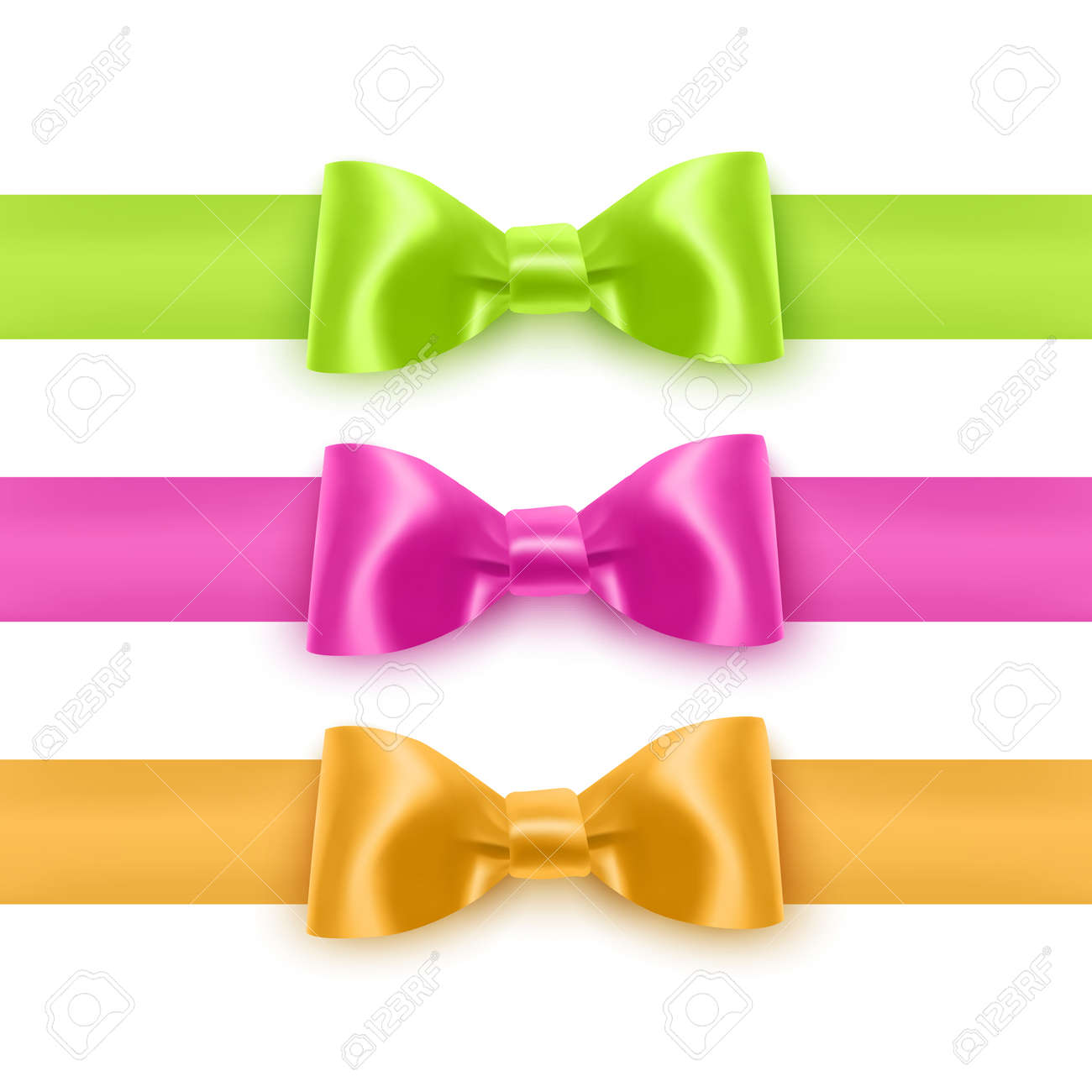 Set of realistic bows of pink, yellow and green colors for decoration of postcards, holiday boxes, etc., bows for decoration on a white background - 173514485