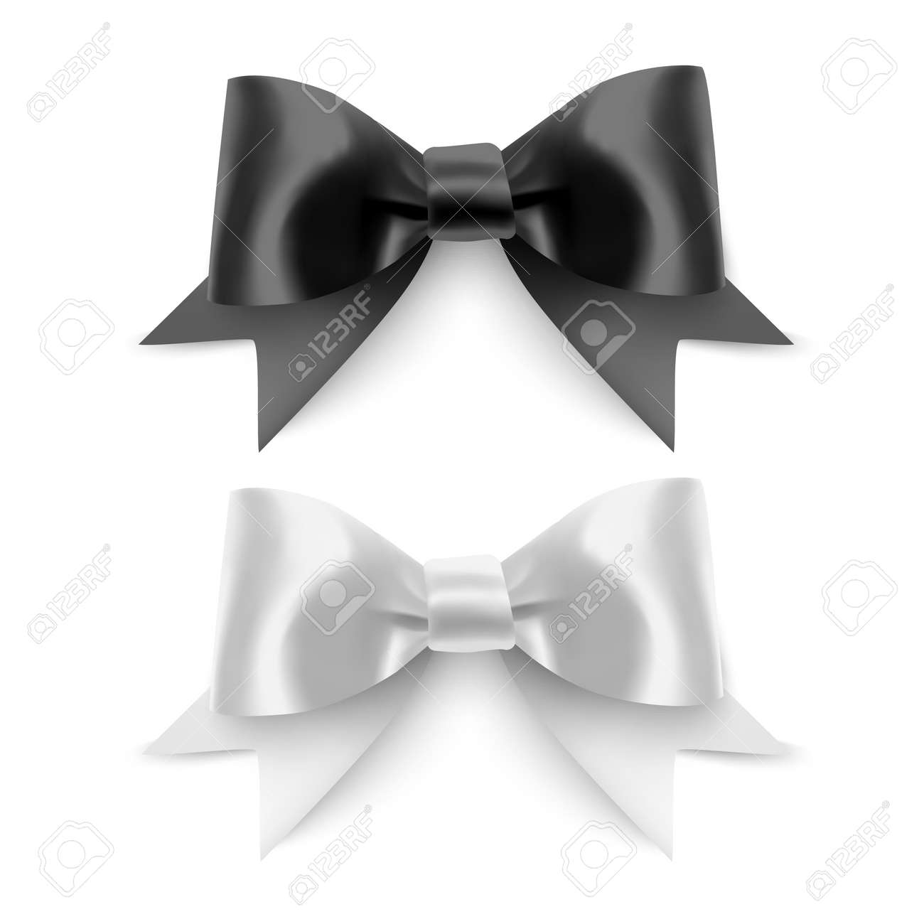 Set of Realistic bows, Ribbon of black and white colors isolated on white background. Vector eps 10 format - 173701456