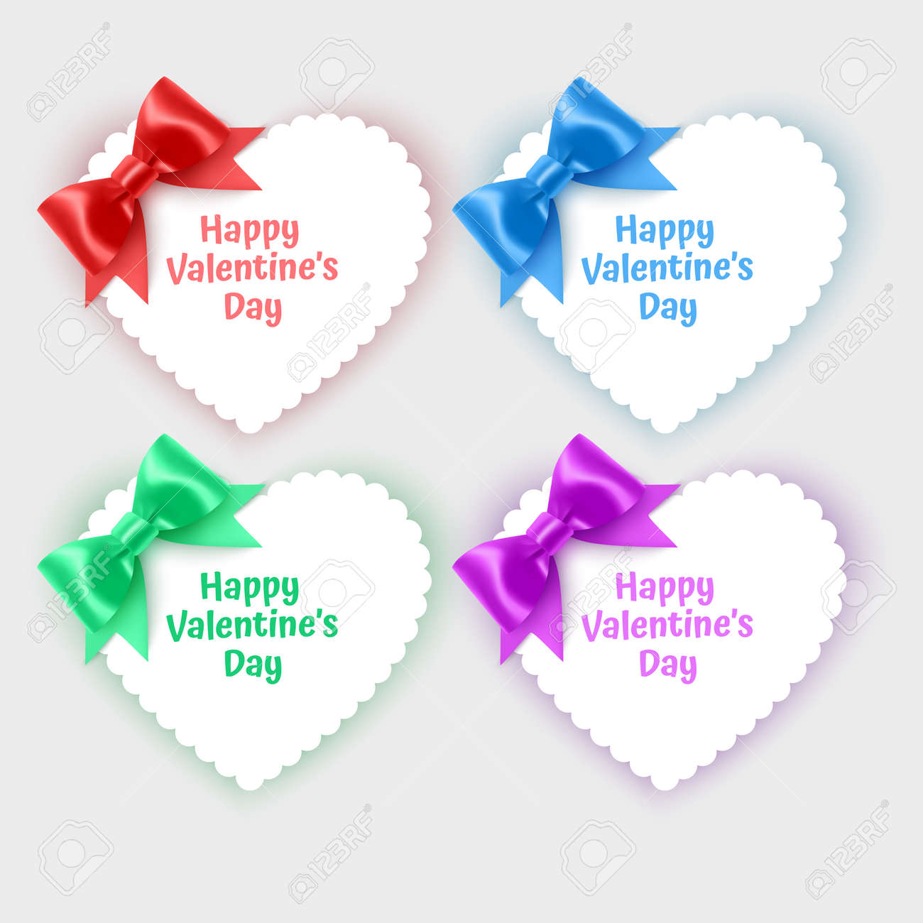 Set of valentine's day cards in the shape of a heart decorated with realistic bows of bright colors - 173703289