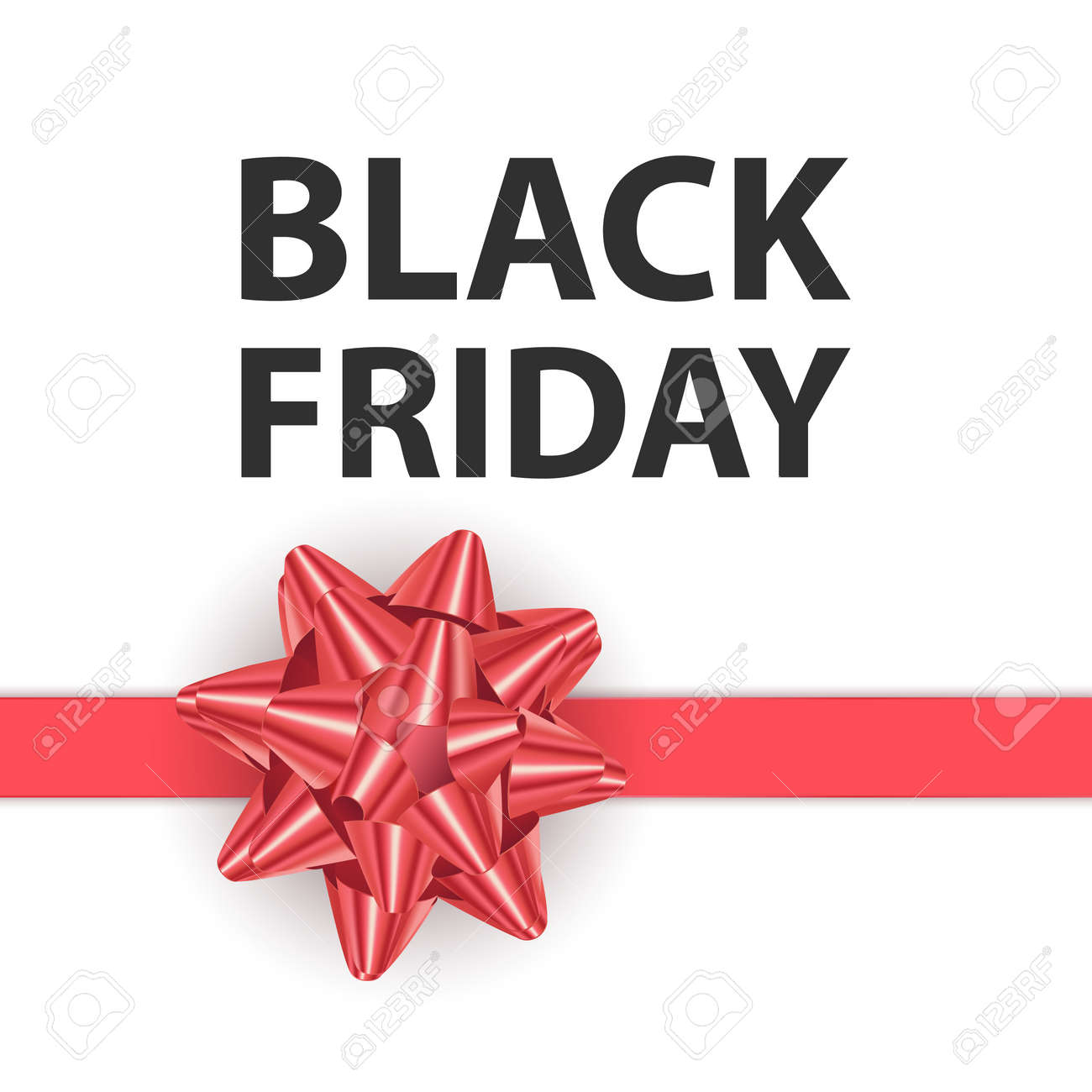 Black friday greeting card with a big Red bow, a template for your design, a holiday card, Vector format - 173922600