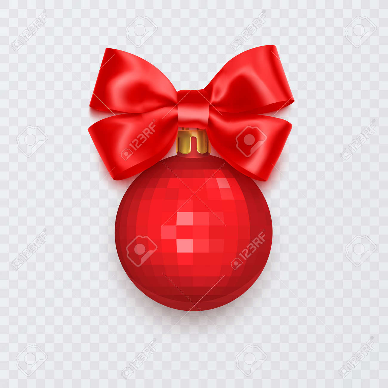 Red Christmas ball with bow. New Year decoration isolated on white background, Vector illustration - 173922468