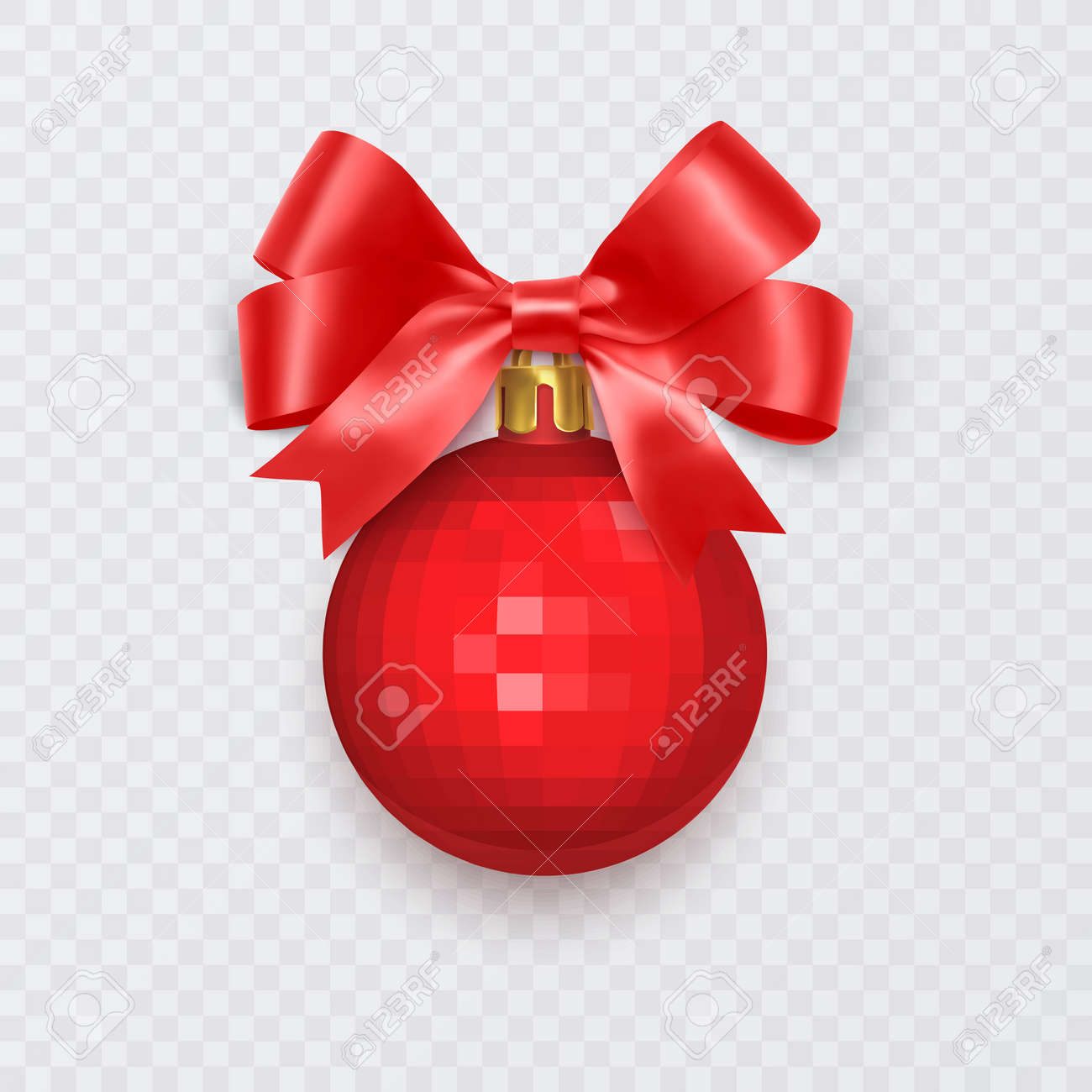 Red Christmas ball with bow. New Year decoration isolated on white background, Vector illustration - 173922502