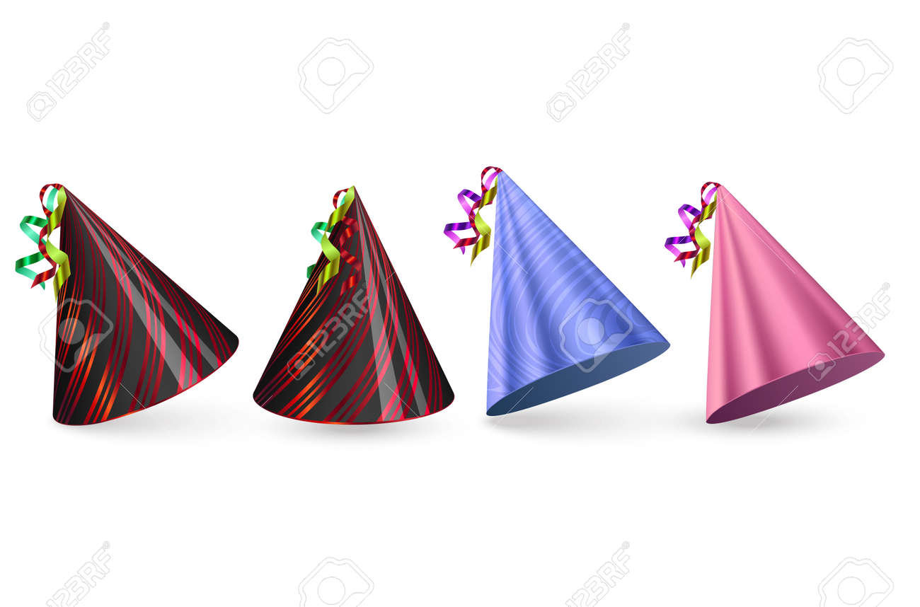Birthday hats Set on white background, colorful party hat, vector format - 174242783