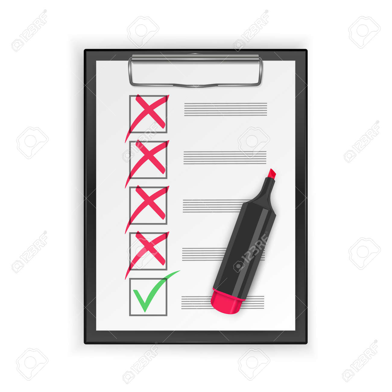 Yes and No check marks, Green checkmark OK and red No icons. Symbols, check mark - 174242829