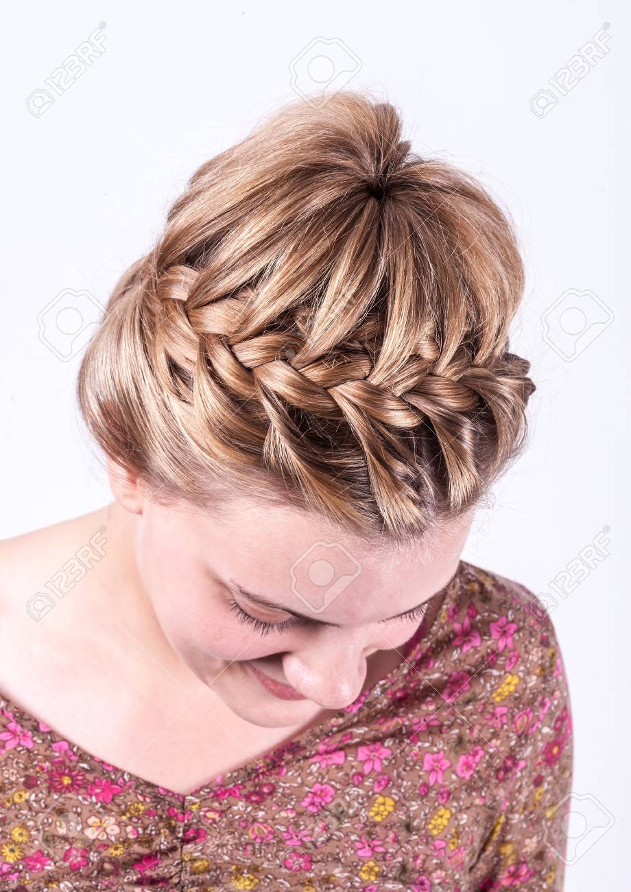 Beauty Wedding Hairstyle Rear View Isolated On White With Red ...