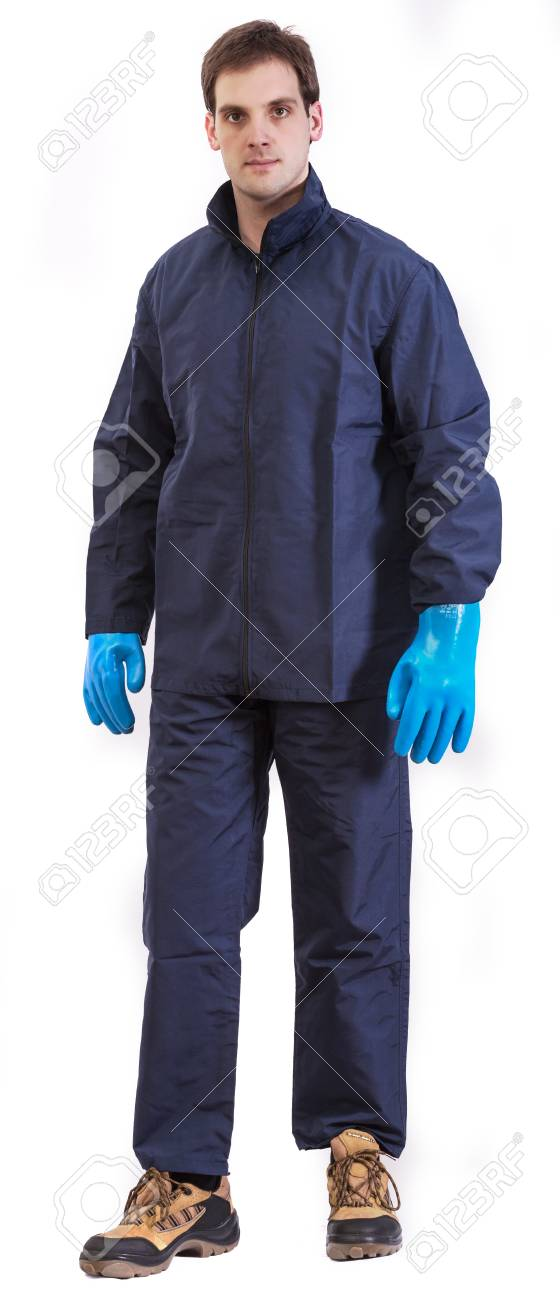 Worker in safety suit isolated on white background Stock Photo - 21648653