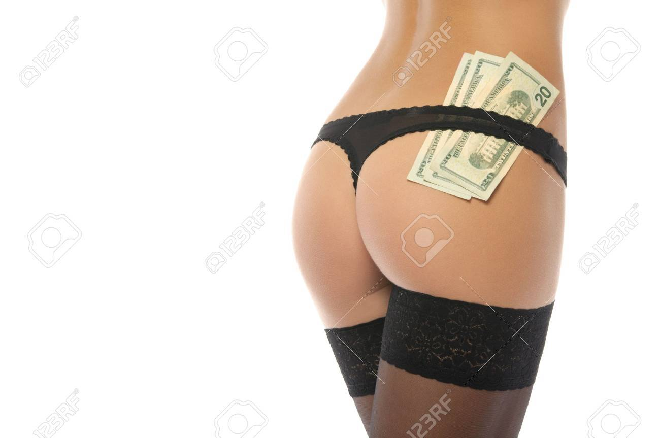 Sexy ass in black panties and money Stock Photo - 10415496