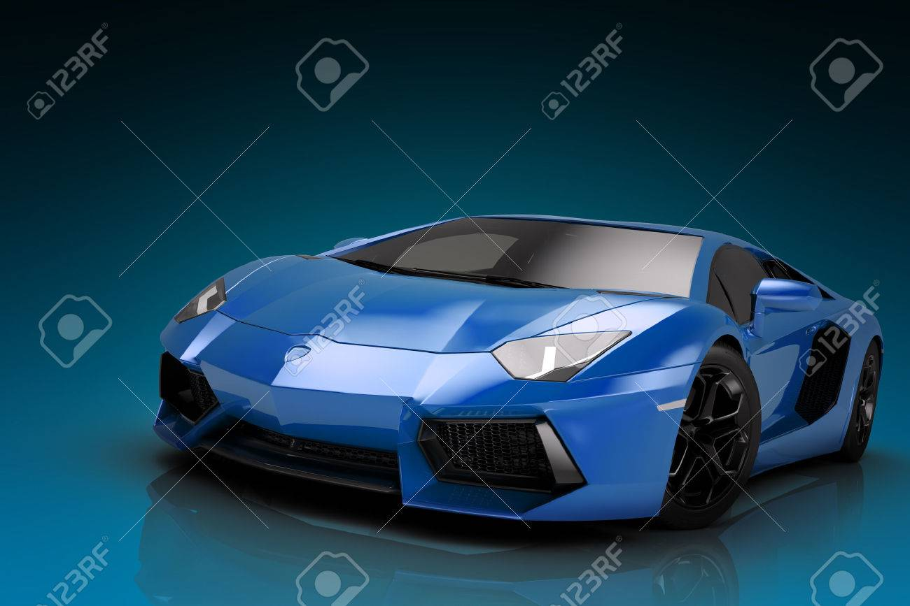sports car 3d render, wallpaper stock photo, picture and royalty