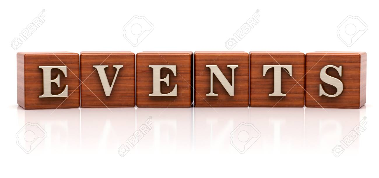 word events written on wooden cubes stock photo picture and royalty