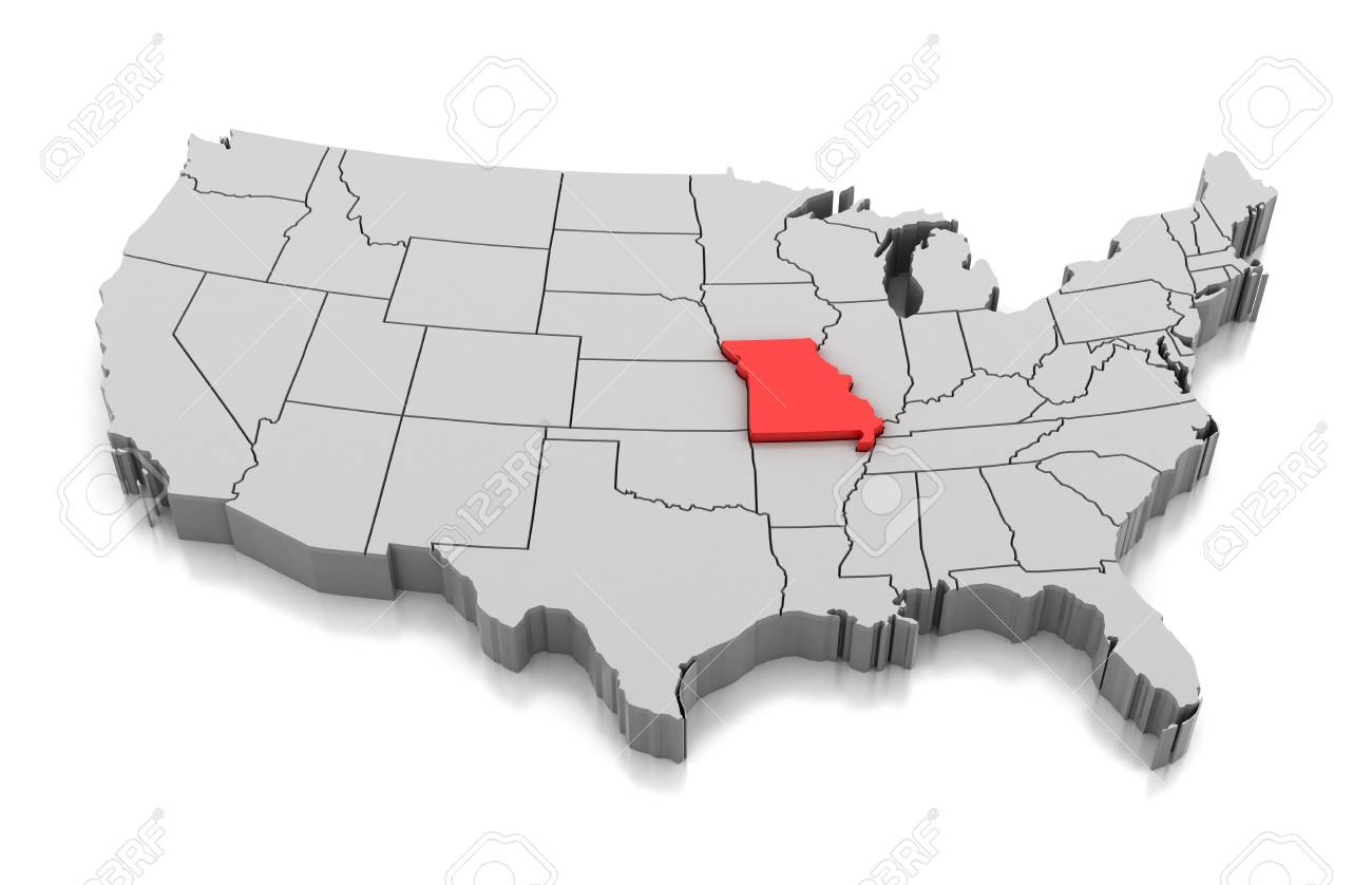 Map Of Missouri State Usa Isolated On White Stock Photo Picture