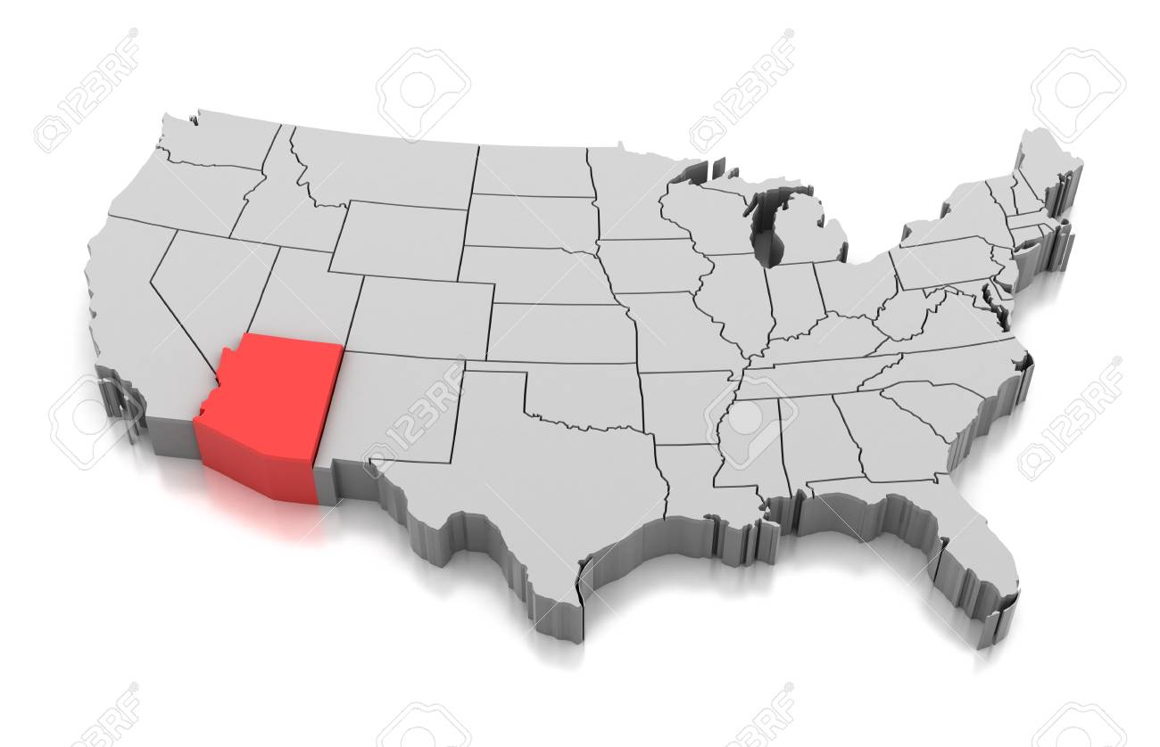 Map of Arizona state, USA isolated on white.