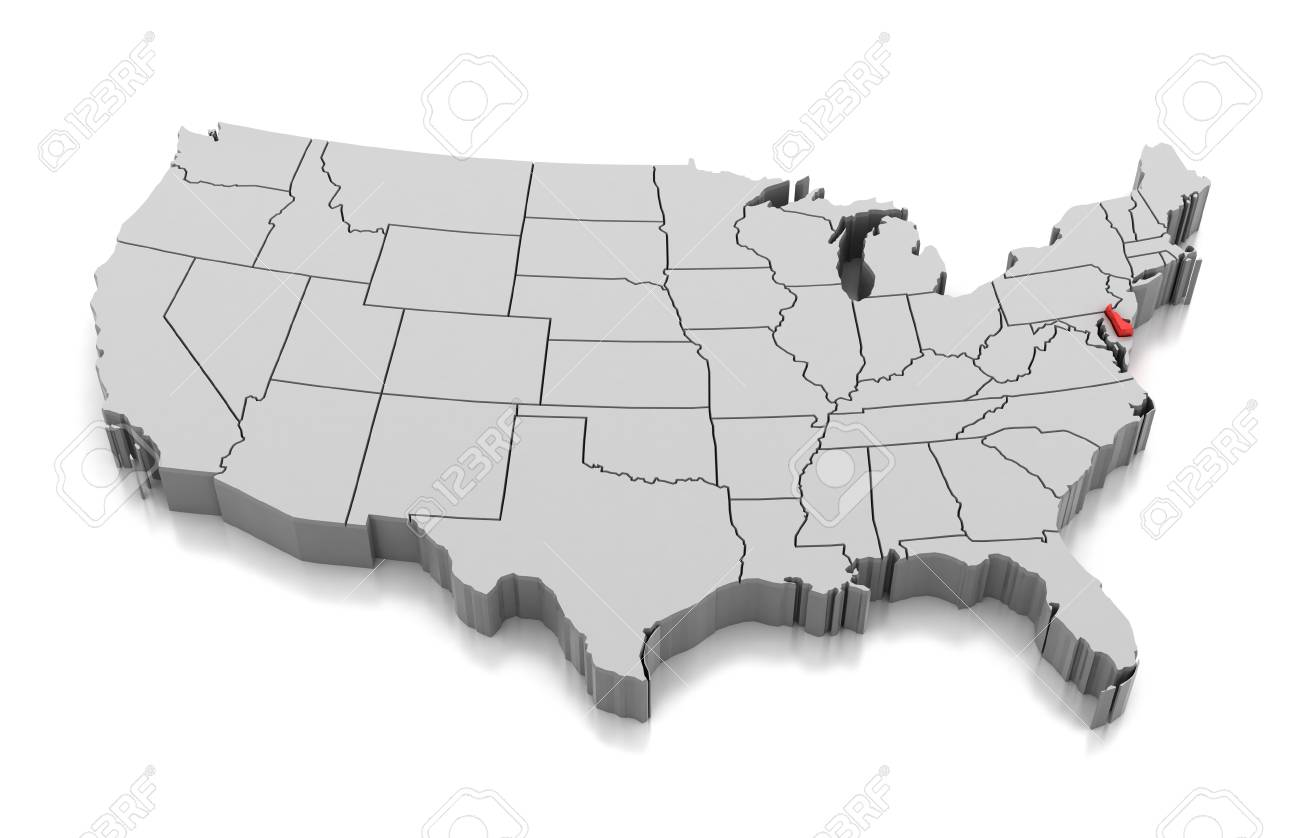 Map of Delaware state, USA, isolated on white.
