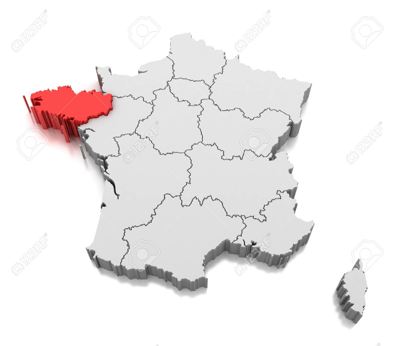 Map of Brittany region, France - 110374009