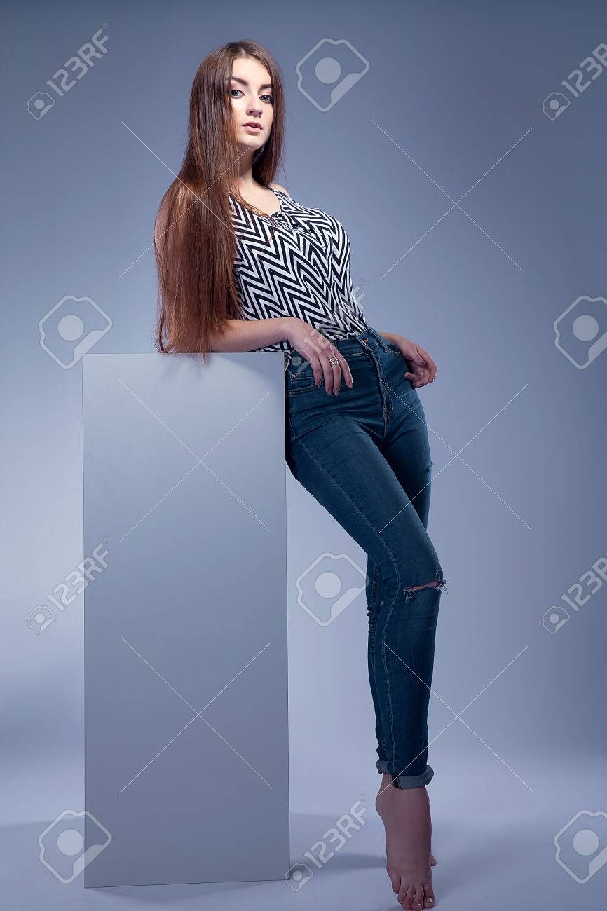 Sexy Girl In Blue Jeans Stock Photo, Picture And Royalty Free ...
