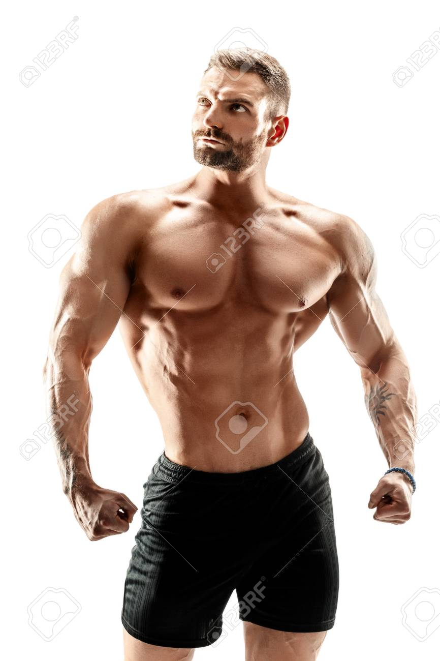 muscular super-high level handsome man posing on white background. - 87755099