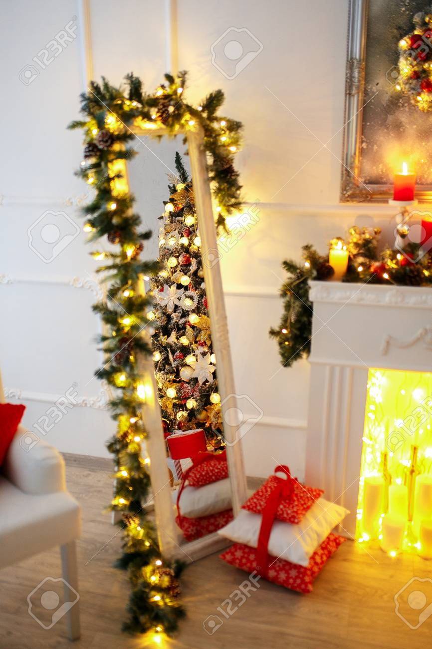 Christmas Room Interior Design Xmas Tree Decorated By Lights Stock Photo Picture And Royalty Free Image Image 89749182