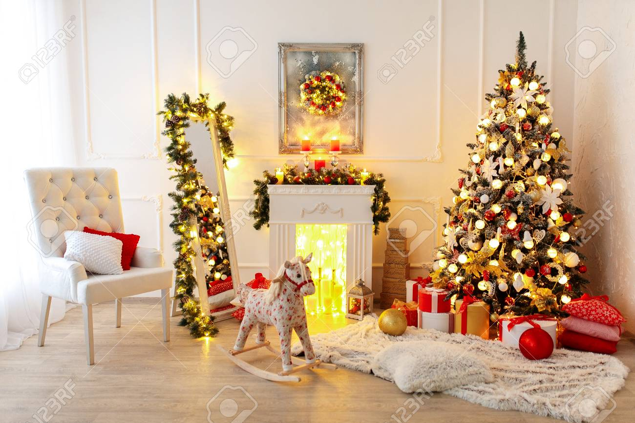 Christmas Room Interior Design Xmas Tree Decorated By Lights Stock Photo Picture And Royalty Free Image Image 89749192