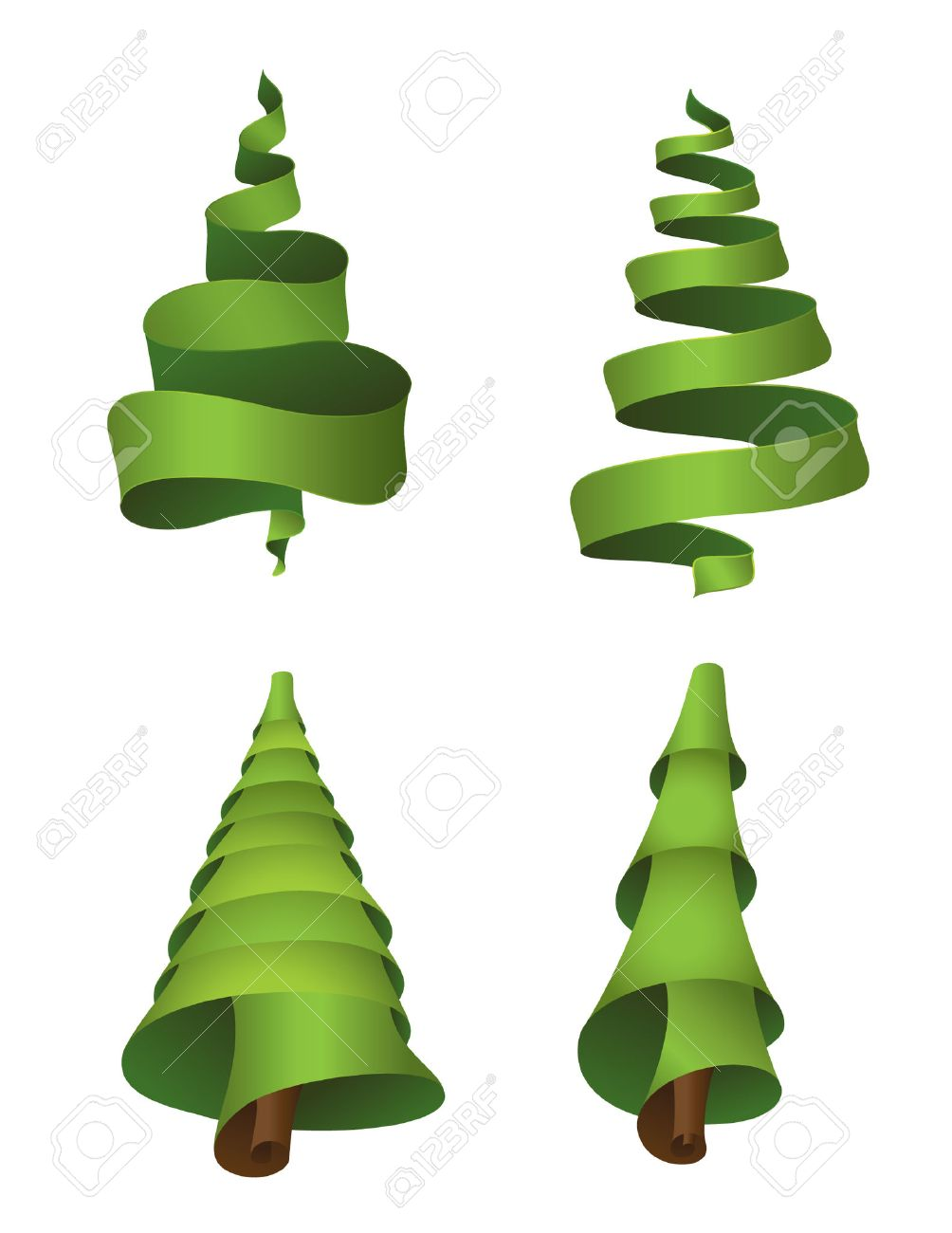 Set of 4 christmas trees made from ribbons Stock Vector - 5194847