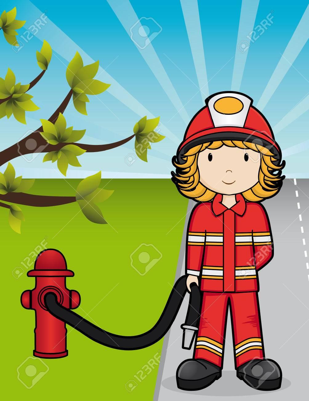 Girls on the Job - Fire Girl Stock Vector - 5365277
