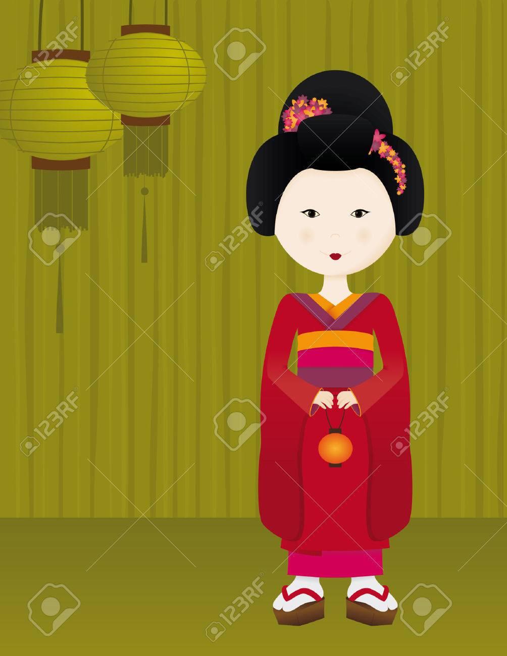 Geisha Girl Stock Vector - 5365284
