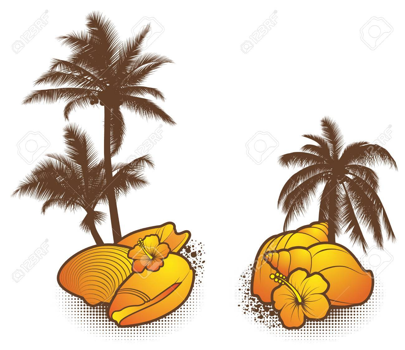 Seashell Elements, orange - vector Stock Vector - 8986750