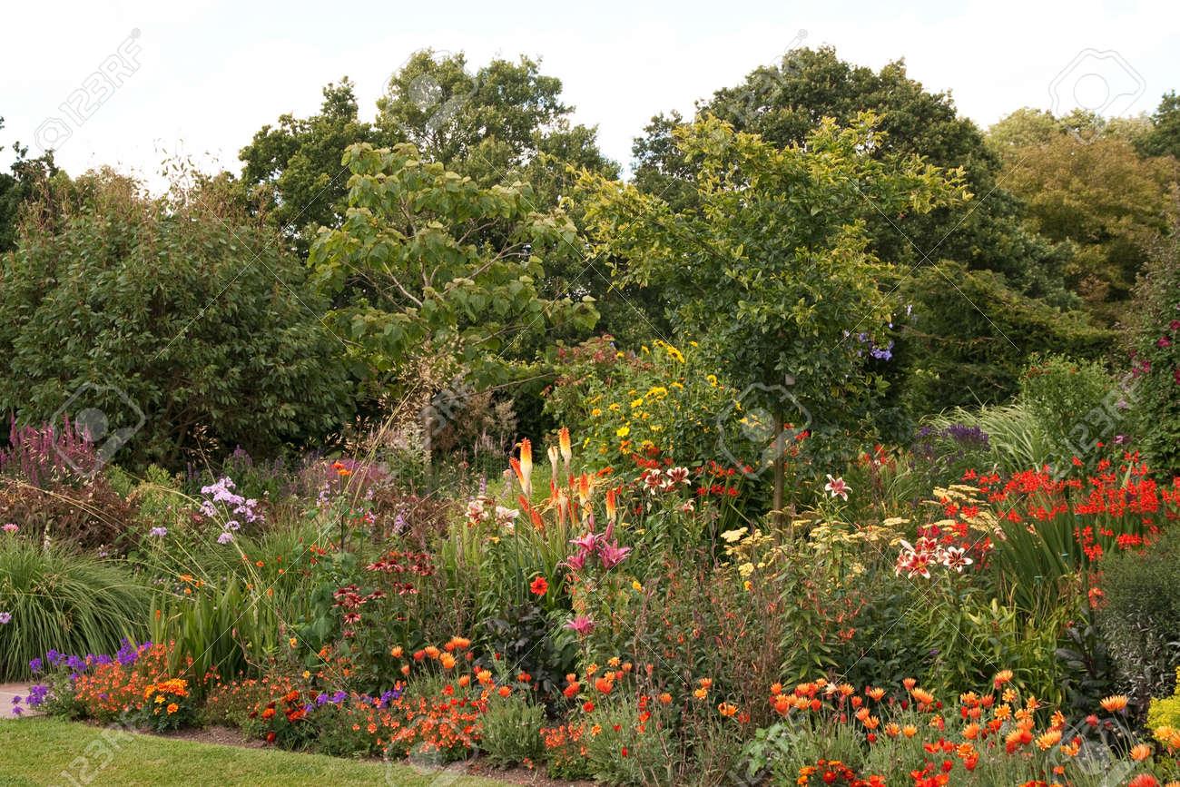 Flower border in mid summer - full of vibrant color Stock Photo - 17875762