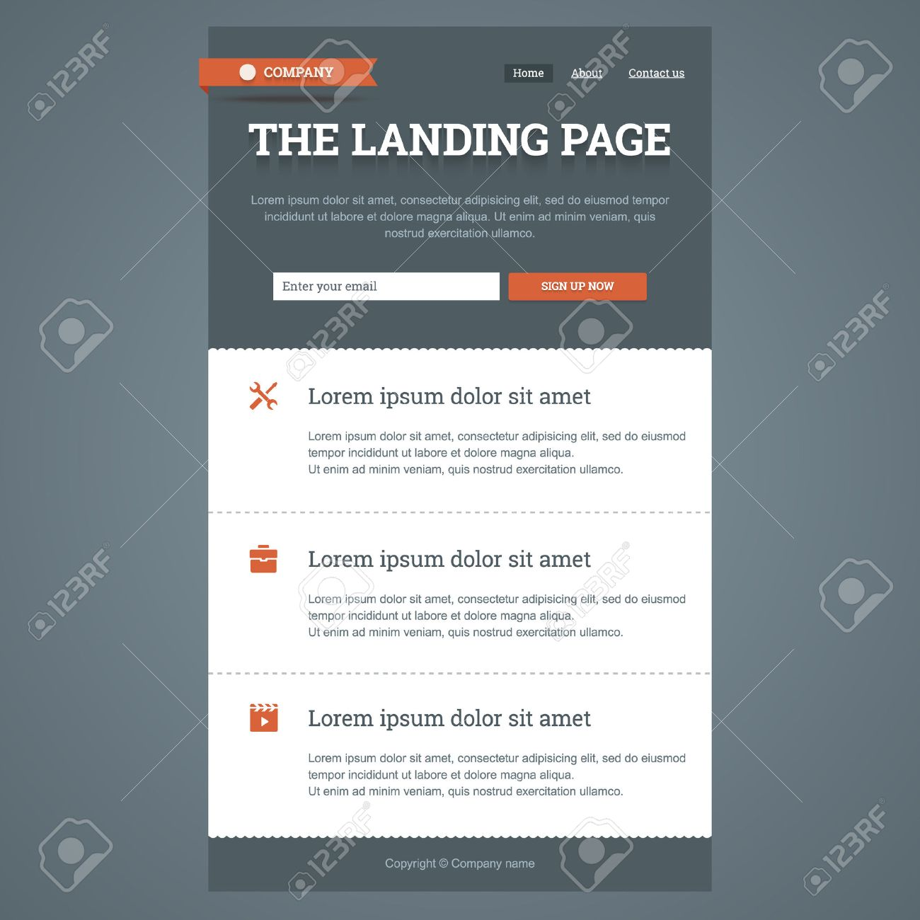 Landing Page In Flat Style With Features Icons And Sign Up Form ...