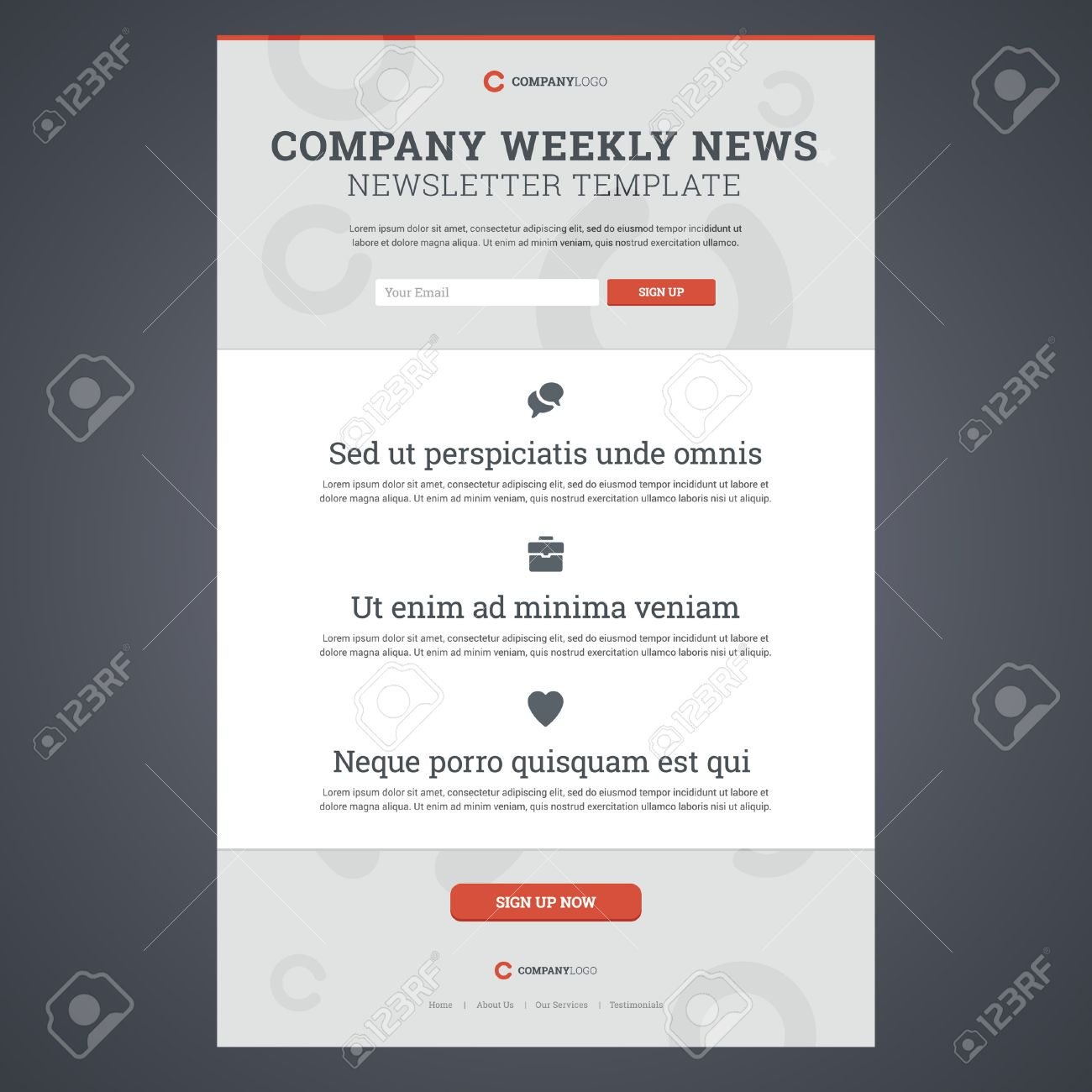 Company News Newsletter Template With Sign Up Form. Vector ...