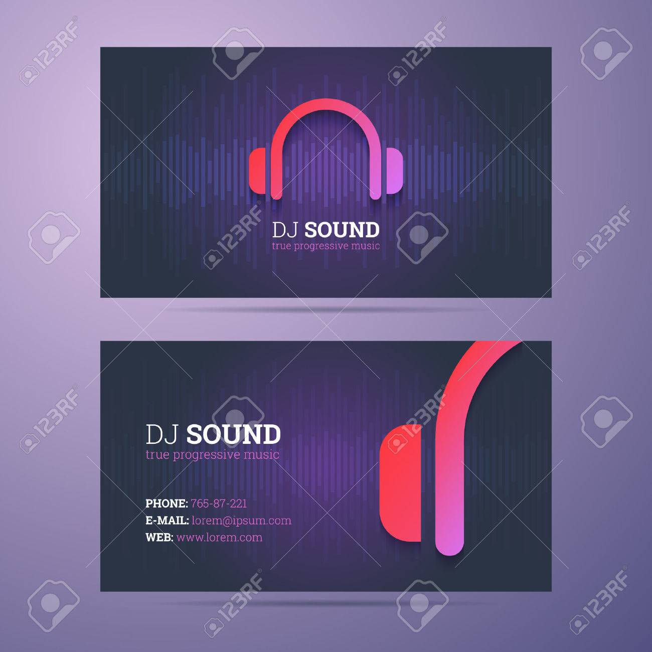 Business Card Template For Dj And Music Business With Headphones ...