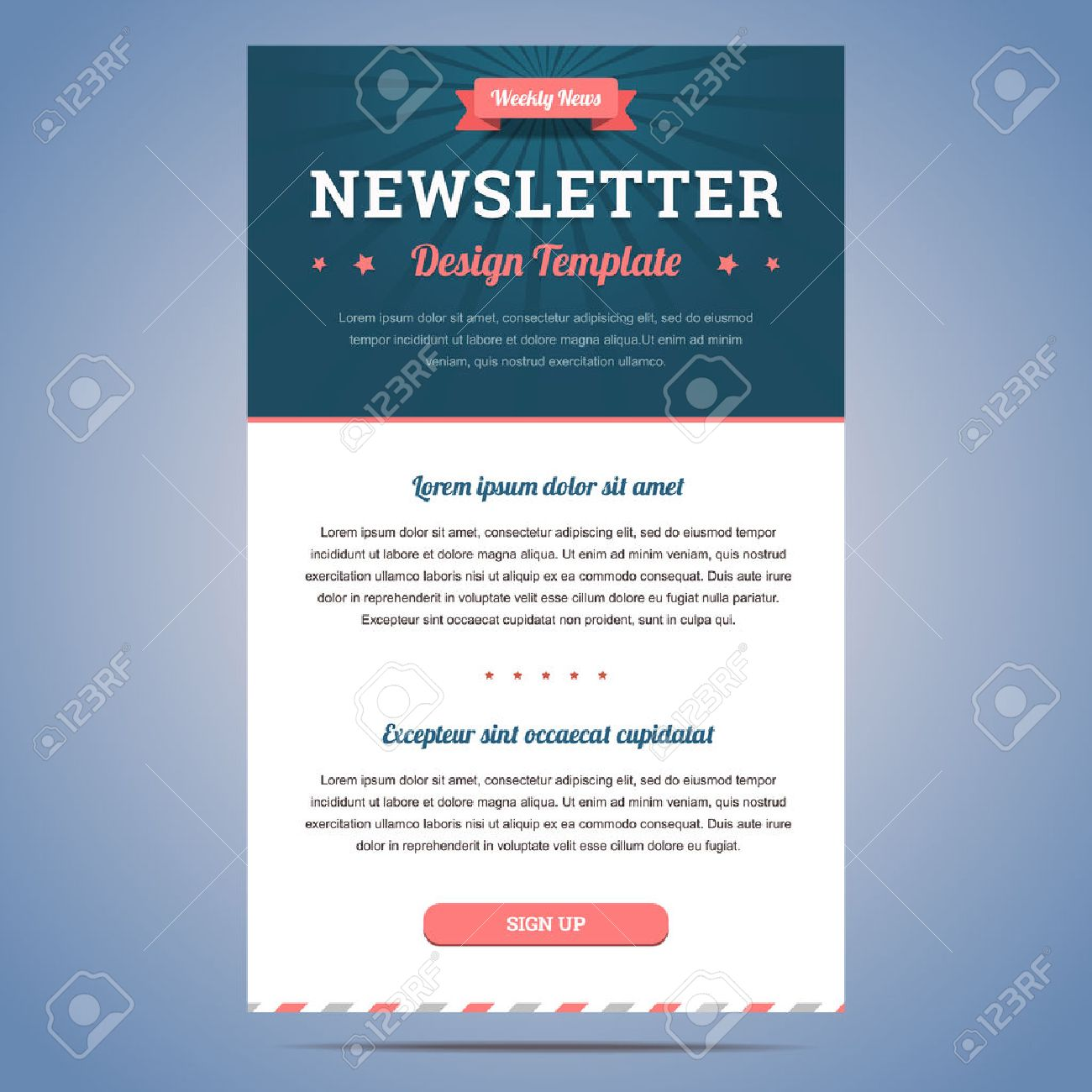newsletter design template for weekly company news with header