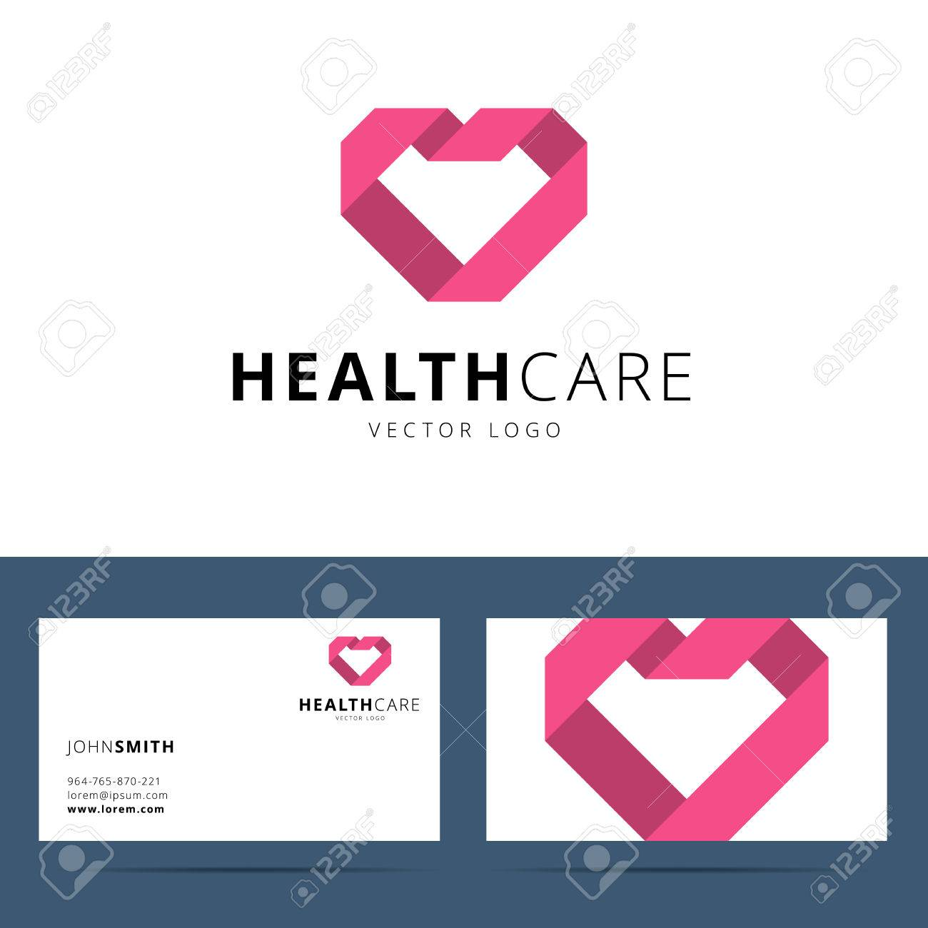 health care vector icon template and business card template with