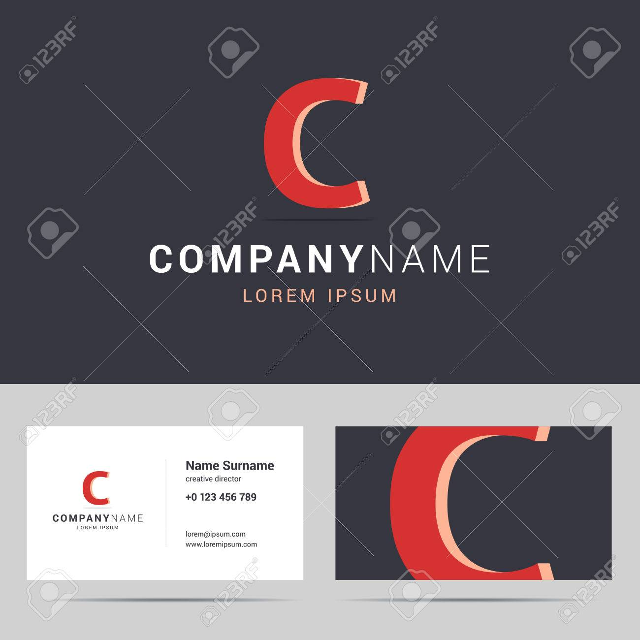 Logotype logo and business card template stylized letter c logotype logo and business card template stylized letter c with 3d effect and shadow cheaphphosting Images