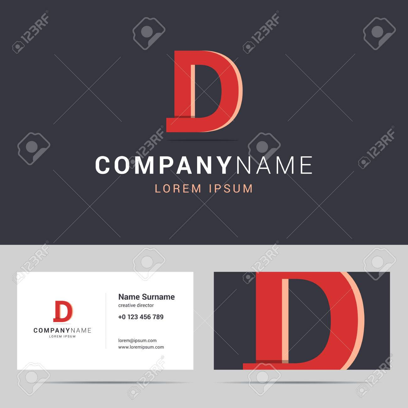 Logotype logo and business card template stylized letter d logotype logo and business card template stylized letter d with overlapping effect and shadow colourmoves
