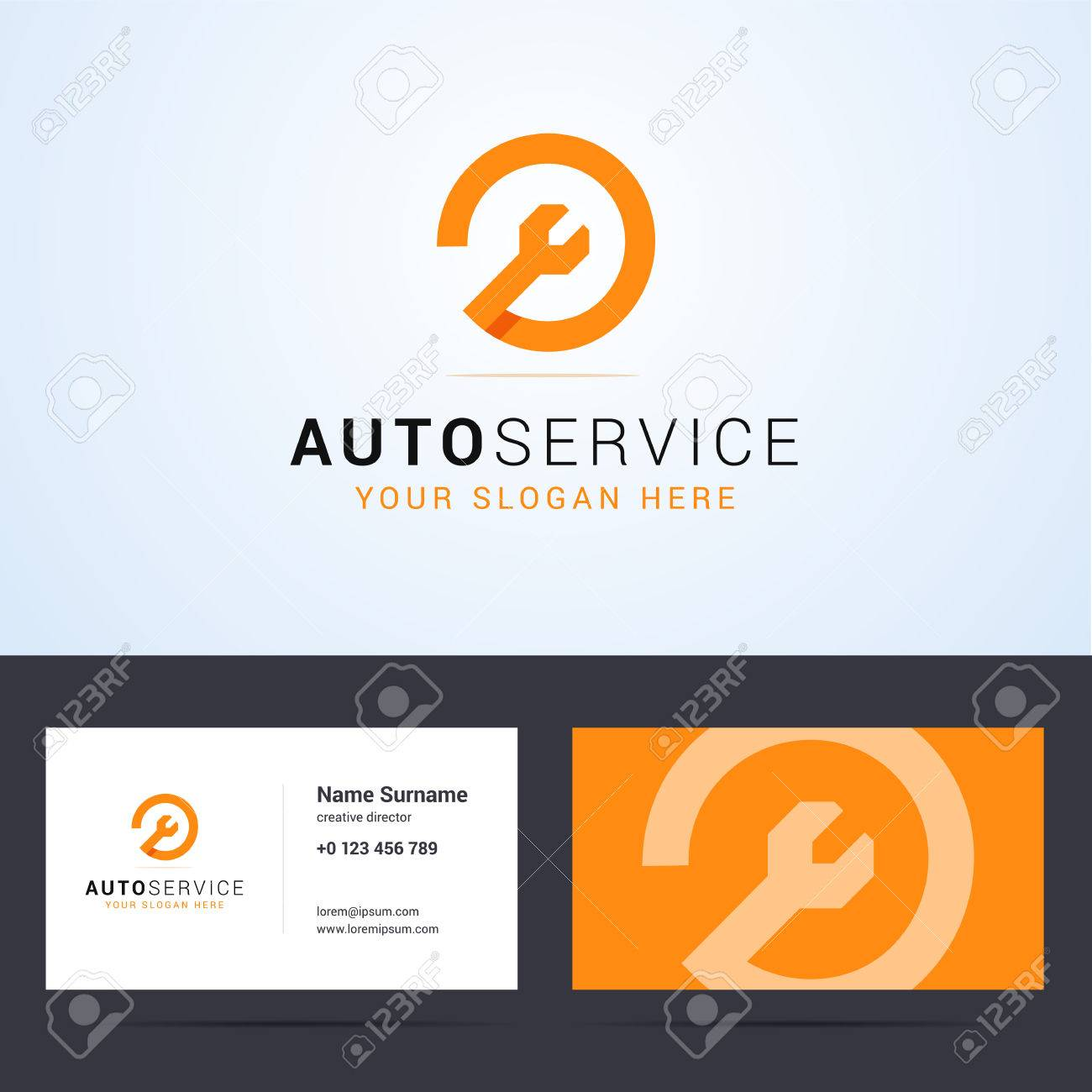 Logo And Business Card Template, Layout For Auto Service, Repair ...