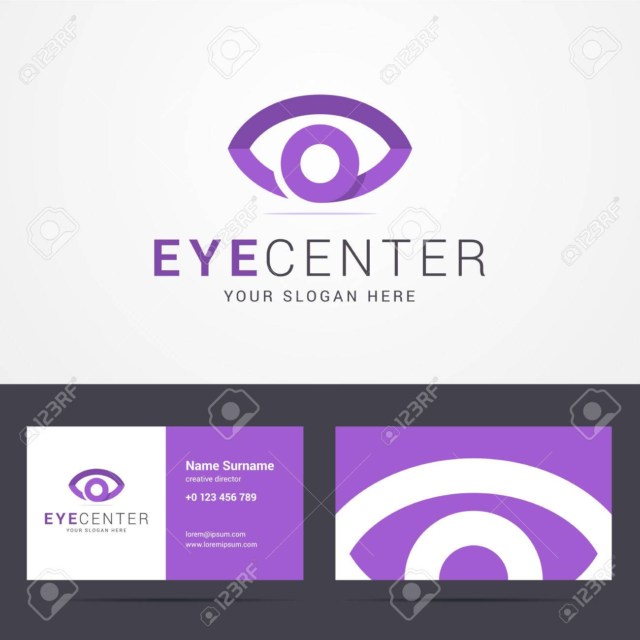 Logo And Business Card Template With Eye Sign For Clinic Or Creative Studio