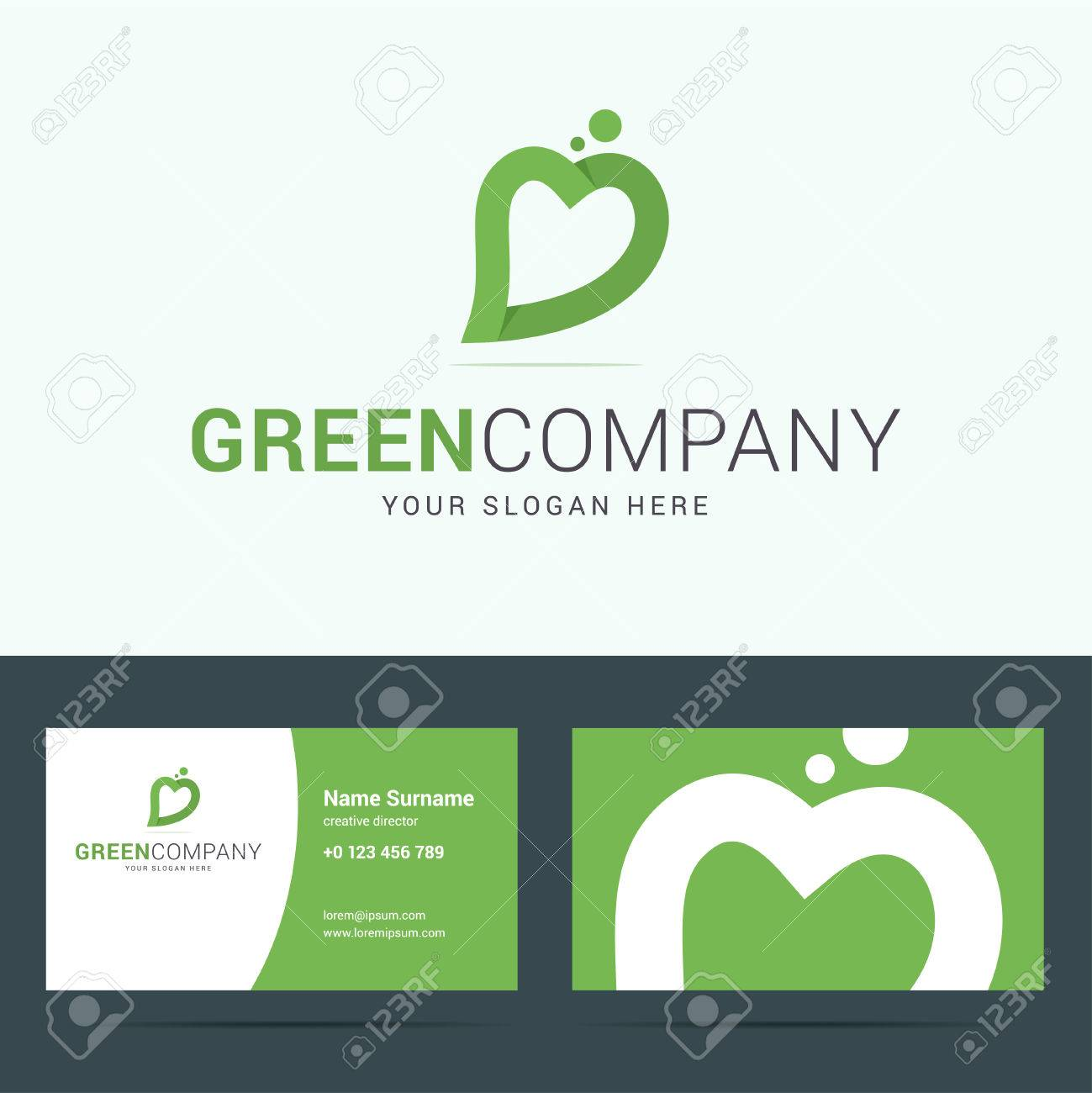 Logo and business card template for ecological nature company logo and business card template for ecological nature company logo with leaf and heart reheart Images