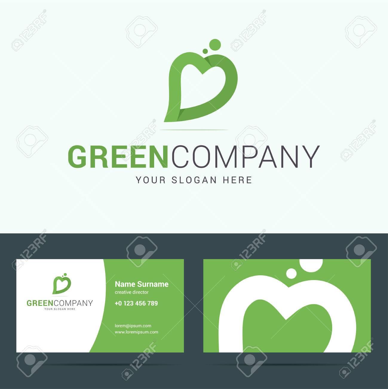 Logo Avec Des Feuilles Et Signe Du Cur Dans Couleurs Vertes Eco Socit Logotype Carte De Visite Plante Safe