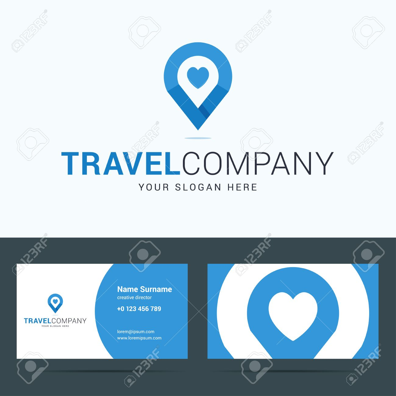 Logo and business card template for travel company map pointer logo and business card template for travel company map pointer sign with heart shape colourmoves
